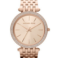 Michael Kors Mid-Size Rose Golden Stainless Steel Darci Three-Hand Glitz Watch