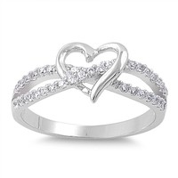 INFINITY LOVE KNOT HEART CZ Sterling Silver Promise Ring