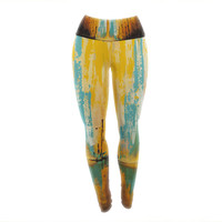 "Steven Dix ""Inception Or Birth"" Teal Orange Yoga Leggings"