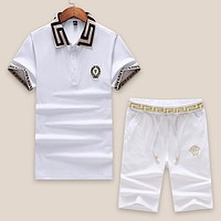 Boys & Men Versace Fashion Casual Shirt Top Tee Shorts Set Two-Piece