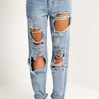 Marri Blue Extreme Rip Jeans - Jeans - PrettylittleThing | PrettyLittleThing.com