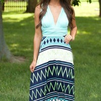 Mint Aztec Wrap Maxi Dress