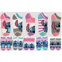 Licensed cool Disney Lilo & Stitch Hawaii Pink Striped Mix Match 5PR NO SHOW Socks 9-11 NEW