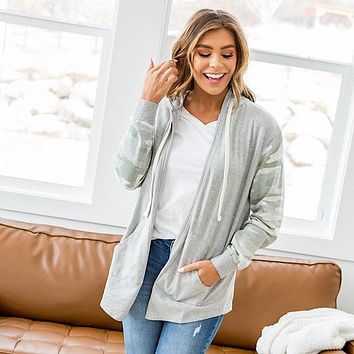 NEW! Sarah Camo and Heather Gray Open Front Hoodie