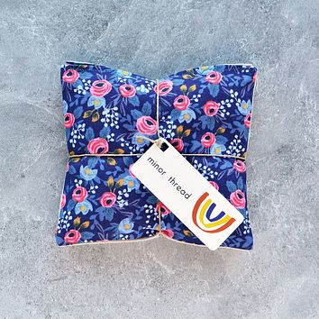 Organic Lavender Sachets in Navy Rosa Floral Cotton - Set of 2