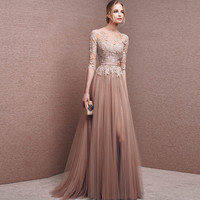 Elegant Champagne Long Dress