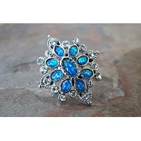 Ornate Blue Opal Tragus Cartilage Earring