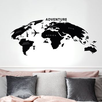 Vinyl Wall Decal Adventure Travel Geography Tourism Map Atlas Living Room Stickers Mural 35 in x 17.5 in gz280