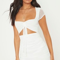 White Square Neck Mesh Ruched Cut Out Bodycon Dress