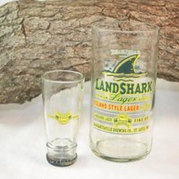 Upcycled Drinking and Shot Glass Set from Land Shark Beer Bottles, Unique Glassware