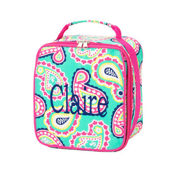 Monogrammed Lunchbox Lunchbag Mint Green Hot Pink Paisley Insulated Cooler School Personalized