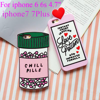 For iphone 6 Case love potion chill pills 3D Cartoon Soft Silicone Case Cover For iphone SE 5 5s 6 6s 6 6s Plus 7 7Plus