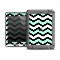The Teal & Black Wide Chevron Pattern Apple iPad Mini LifeProof Fre Case Skin Set