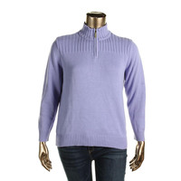 Karen Scott Womens Petites Knit Long Sleeves Pullover Sweater