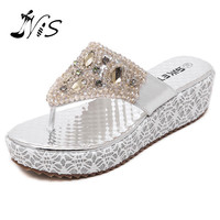 NIS 2017 Woman Leather Crystal Platform Sandals with Lace Fashion Bling Rhinestones Wedges Sexy Flats Flip Flops Lady Shoes