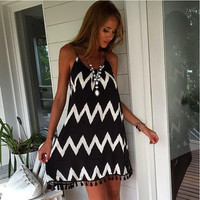 Monochrome Stripe Tasseled Beach Dress