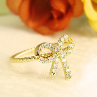 Women's Bow Ring Crystal Gold Silver Ribbon Ring Plated Jewelry