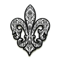Fleur de Lis decor, wall decor in black and white damask stacked wooden fleur de lis wall art large French style decor