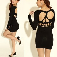 Cool skull hollow out nice sexy dress Black