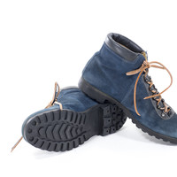 Hiking Boots Blue Leather Vintage 70s Winter Snow Boots Mens size 6.5 / Womens Size 8