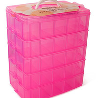 LifeSmart Stackable Storage Container. Pink, Compatible for Littlest Pet Shop, Shopkins, The Grossery Gang, Arts and Crafts, and More, 50 Adjustable Compartments