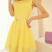 Yellow Sleeveless Zippered Flounce Dress