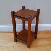 Vintage Two Tier Wood End Table Plant Stand