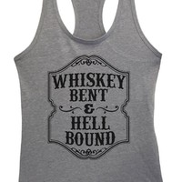 Womens Whiskey Bent & Hell Bound Grapahic Design Fitted Tank Top
