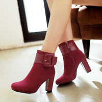 Hot Deal On Sale Winter Plus Size Zippers High Heel Boots [6366200132]