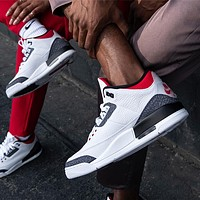 "Air Jordan 3 Retro ""Denim Fire Red"" Sneakers Basketball Shoes"