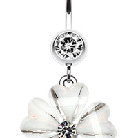Shimmering Hearty Flower Belly Button Ring