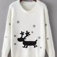 White Deer and Snowflake Print Mohair Sweater