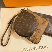 LV Louis Vuitton Hot Sale New Women's Printed Letter Purse Three-Piece Set