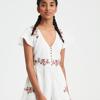 AE Button Front Embroidered Romper, Cream