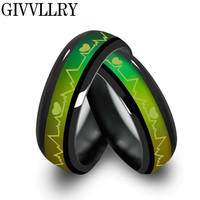 Women's Vintage Titanium Black Mood Rings Temperature Emotion Feeling