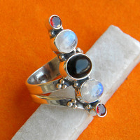 Rainbow Moonstone, Garnet Ring Solid 925 Sterling Silver Pure Handmade Size: (6, 7, 8, 9, 10) Exclusive Fresh Arrival XL Size available