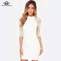 2015 spring summer new elegant sexy women simple solid color stitching white lace sleeve bodycon dress for party