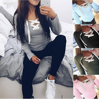 Long Sleeve Lace Up Tie Sweatshirt