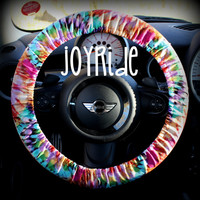Steering Wheel Cover Tye Dye Rainbow- Cute Car Accessorries Hippie Heated Gift for Girls Seat Belt Cover Keychain Christmas Favorite Rose