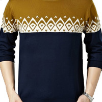 Color Block Patterned Knit Pullover Sweater