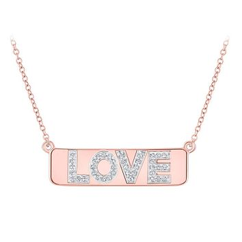 "10k Rose Gold Diamond Pink Love Bar Pendant Necklace with 18"""" Chain 1/8 Cttw"