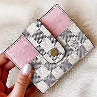 Louis Vuitton LV New fashion tartan leather wallet purse handbag