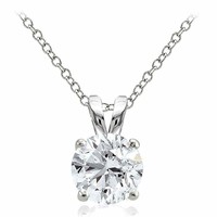 925 Sterling Silver 2.75ct Cubic Zirconia 9mm Round Solitaire Necklace
