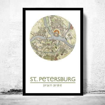 SAINT PETERSBURG - city poster - city map poster print