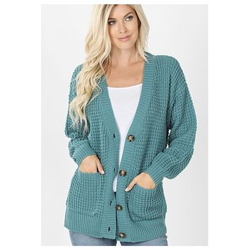 Cozy Cute Waffle Knit Dusty Teal Sweater Cardigan with Buttons