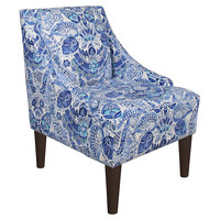 Quinn Swoop-Arm Chair, Blue Paisley, Accent & Occasional Chairs