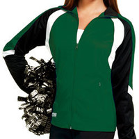 Bold Tri-Color Designed Wave Poly Tricot Warm-Up Track Jacket by Zoe Athletics