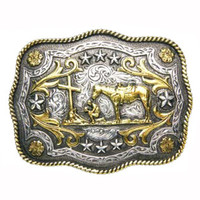 And West Mens Scalloped Praying Cowboy Silver Gold Belt Buckle