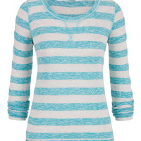 Striped Long Sleeve Pullover - Sea Green Combo