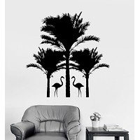 Vinyl Wall Decal Flamingo Palm Trees Animals Relax Stickers Mural Unique Gift (ig3381)